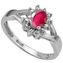 GENUINE .56 CTW RUBY AND DIAMOND RING IN .925 STERLING SILVER #71292v2