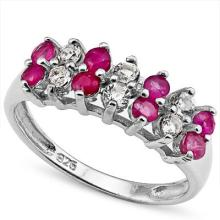 GENUINE 1.10 CTW RUBY AND WHITE TOPAZ RING IN PLATINUM PLATED .925 STERLING SILVER #71334v2