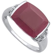 GENUINE 5.60 CTW RUBY RING IN PLATINUM PLATED .925 STERLING SILVER #71340v2