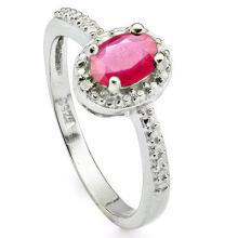 GENUINE .52 CTW RUBY AND DIAMOND RING IN PLATINUM PLATED .925 STERLING SILVER #71330v2