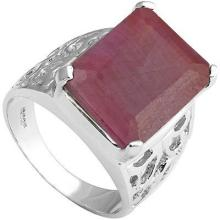 GENUINE 9.98 CTW RUBY RING IN PLATINUM PLATED .925 STERLING SILVER #71297v2