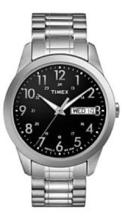 TIMEX BLACK DIAL STAINLESS STEEL MENS WATCH #44588v2