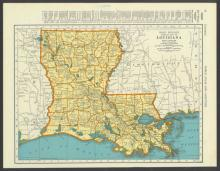 VINTAGE 1937 MAP OF LOUISIANA #45468v2