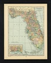 VINTAGE 1926 MAP OF FLORIDA #45459v2