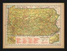 VINTAGE 1944 MAP OF PENNSYLVANIA #45444v2
