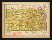VINTAGE 1944 MAP OF KANSAS #45457v2