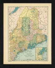 VINTAGE 1926 MAP OF MAINE #45461v2