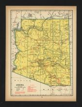 VINTAGE 1944 MAP OF ARIZONA #45467v2