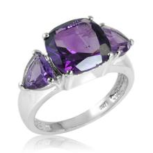 4.00 CTW Cushion and Amethyst Ring in Sterling Silver #96478v2