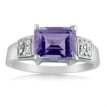 Sterling Silver 1.20 CTW Amethyst and Diamond Ring #96480v2