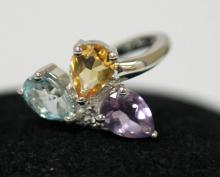 AMETHYST CIZRINE & BLUE TOPAZ RING .925 STERLING SILVER #33452v1