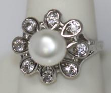 WHITE PEARL FLOWER CZ RING #45528v1