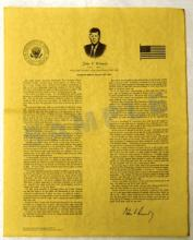 JFK INAUGURAL ADDRESS REPLICA #27265v2