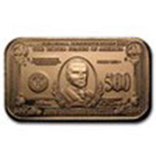 1 oz Copper Bar - $500 William McKinley Banknote #27376v2
