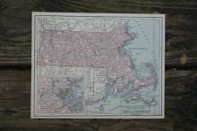 GENUINE AUTHENTIC 1930 MAP OF MASSACHUSETTS #70698v2