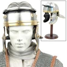 ROMAN IMPERIAL TROOPERS HELMET REPLICA COMES W/WOODEN DISPLAY STAND #75214v2