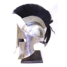 SPARTAN FULL SIZE HELMET REPLICA W/BLACK PLUME COMES W/WOODEN DISPLAY STAND #75215v2