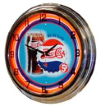 COLLECTIBLE PEPSI RED NEON CLOCK BIG GLASS 5 CENTS #17986v2