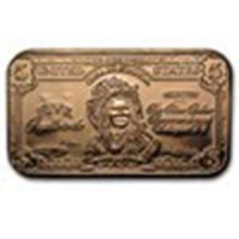 1 oz Copper Bar - $5.00 Indian Chief Banknote #27373v2