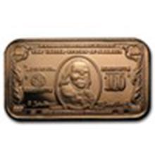 1 oz Copper Bar - $100 Benjamin Franklin Banknote #33695v2