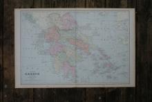 GENUINE AUTHENTIC 1901 MAP OF GREECE #70841v2