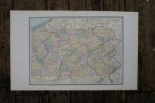 GENUINE AUTHENTIC 1885 MAP OF PENNSYLVANIA #70727v2