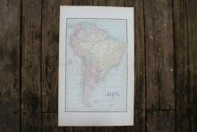 GENUINE AUTHENTIC 1885 MAP OF SOUTH AMERICA #70724v2