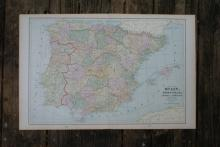 GENUINE AUTHENTIC 1901 MAP OF SPAIN #70762v2