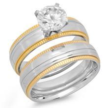 Ladies Double Engagement Ring 18 karat gold on steel #90564v2