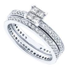 14K White-gold 0.97CT DIAMOND ETERNITY BRIDAL SET #56779v2