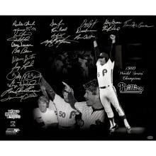1980 Philadelphia Phillies Multi-Signed 16x20 Photo (22 Signatures) ( Leaf Holo Only & Athlon Cert) #71968v2