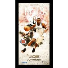 Joe Johnson Brooklyn Nets Player Profile Framed 10x20 Photo Collage w/ Game Used Basketball #49398v2