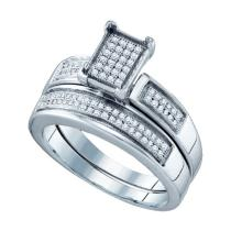925 Sterling Silver White 0.28CTW DIAMOND MICRO PAVE BRIDAL RING #52381v2