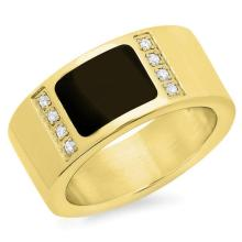 Ring with jet black stone 18 Karat Gold #90537v2