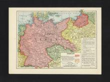 VINTAGE 1921 MAP OF GERMANY W/WW1 CHANGES #45471v2