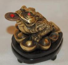 FENG SHUI BRONZE MONEY FROG #96168v2