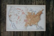 GENUINE AUTHENTIC 1883 MAP OF THE UNITED STATES OF AMERICA #70739v2