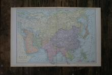 GENUINE AUTHENTIC 1901 MAP OF ASIA #70829v2