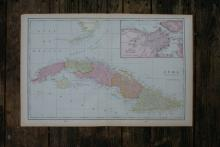 GENUINE AUTHENTIC 1901 MAP OF CUBA #70826v2