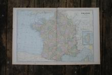 GENUINE AUTHENTIC 1901 MAP OF FRANCE #70761v2