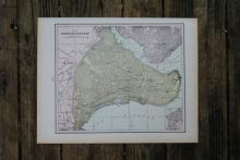 GENUINE AUTHENTIC 1901 MAP OF CONSTANTINOPLE #70866v2