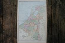 GENUINE AUTHENTIC 1901 MAP OF NETHERLANDS AND BELGIUM #70760v2