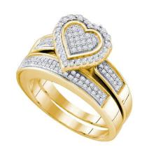 925 Sterling Silver Yellow 0.40CTW DIAMOND MICRO PAVE BRIDAL RING #53923v2