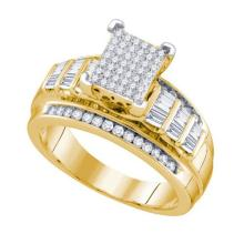925 Sterling Silver Yellow 0.66CTW DIAMOND LADIES MICRO PAVE RING #51050v2