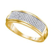 925 Sterling Silver Yellow 0.22CTW DIAMOND MICRO PAVE MENS BAND #58321v2