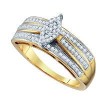 925 Sterling Silver Yellow 0.25CT DIAMOND MICRO PAVE RING #68779v2
