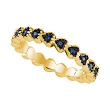 925 Sterling Silver Yellow 0.23CTW BLUE DIAMOND MICRO-PAVE RING #58488v2