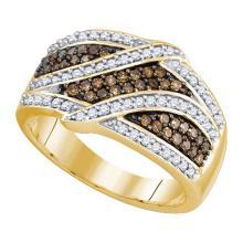 10KT Yellow Gold 0.70CTW COGNAC DIAMOND BRIDAL RING #52511v2