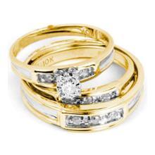 14KT Yellow Gold 0.25CTW DIAMOND ROUND CENTER TRIO SET #69028v2