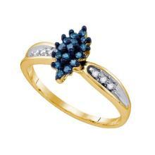 10K Yellow-gold 0.18CT BLUE DIAMOND CLUSTER RING #62761v2
